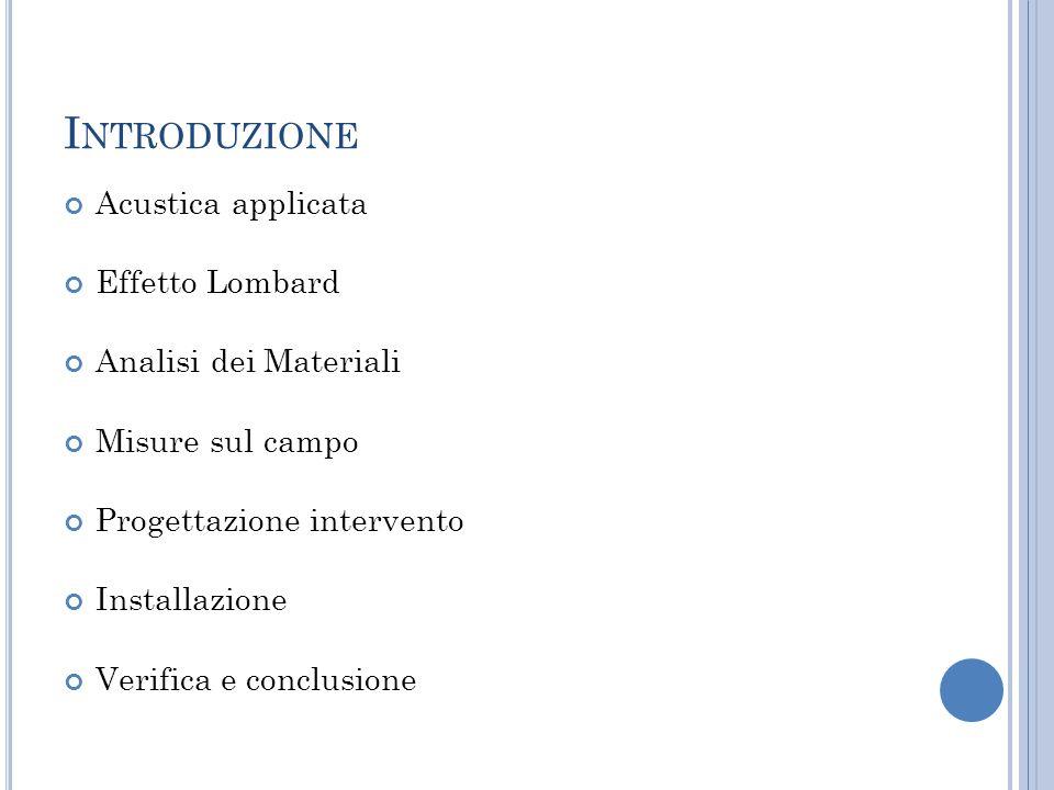 Introduzione Acustica applicata Effetto Lombard Analisi dei Materiali
