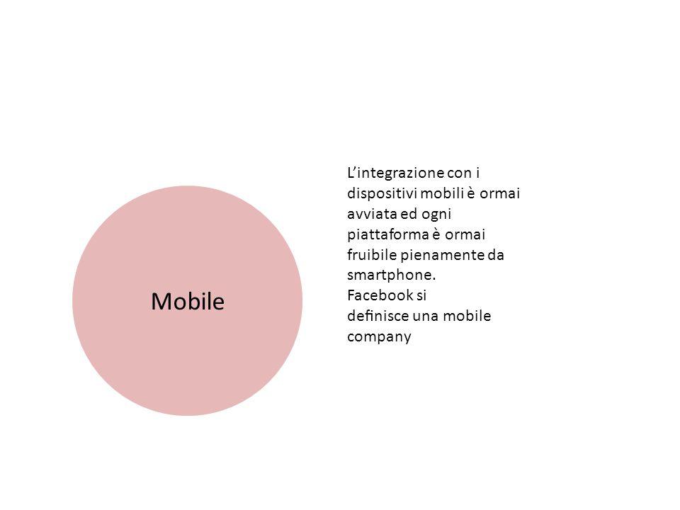 Mobile L'integrazione con i dispositivi mobili è ormai avviata ed ogni