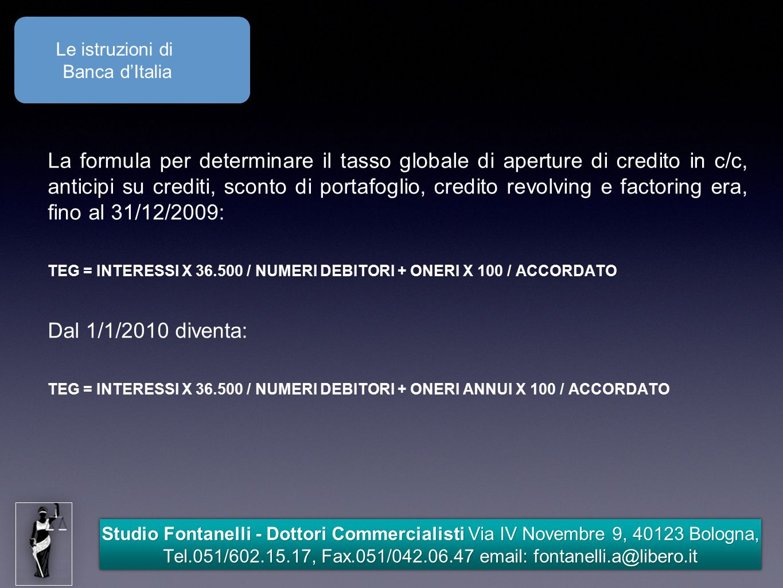 Le istruzioni di Banca d'Italia.