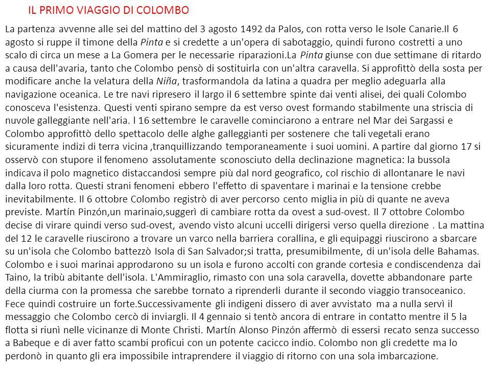 IL PRIMO VIAGGIO DI COLOMBO