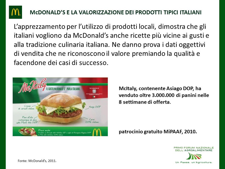 McDONALD'S E LA VALORIZZAZIONE DEI PRODOTTI TIPICI ITALIANI