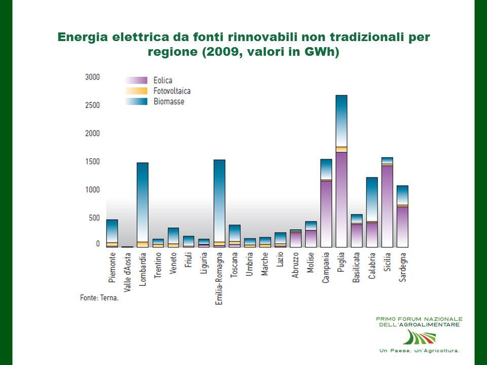 Energia elettrica da fonti rinnovabili non tradizionali per regione (2009, valori in GWh)