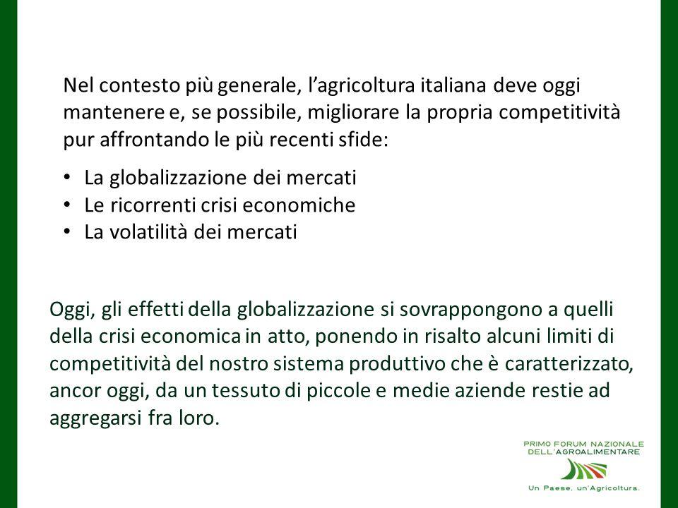 Nel contesto più generale, l'agricoltura italiana deve oggi mantenere e, se possibile, migliorare la propria competitività pur affrontando le più recenti sfide:
