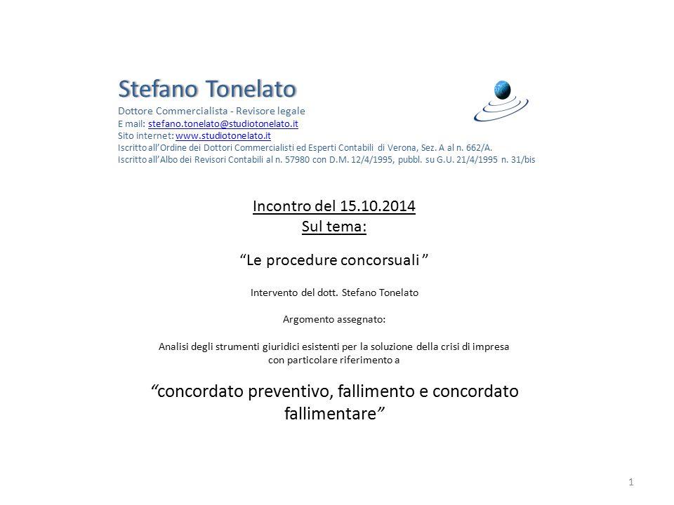 Stefano Tonelato Dottore Commercialista - Revisore legale. E mail: stefano.tonelato@studiotonelato.it.