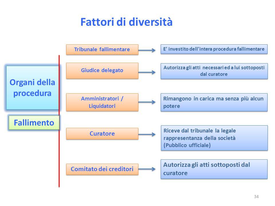 Fattori di diversità Organi della procedura Fallimento Curatore