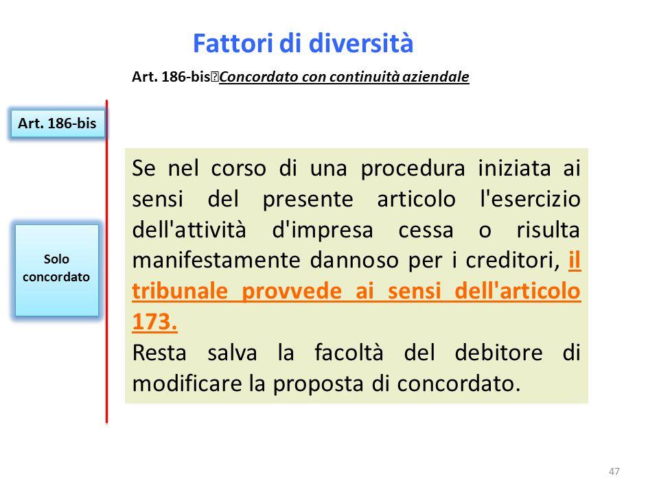 Fattori di diversità Art. 186-bis Concordato con continuità aziendale. Art. 186-bis.