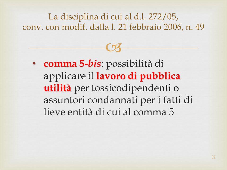 La disciplina di cui al d. l. 272/05, conv. con modif. dalla l