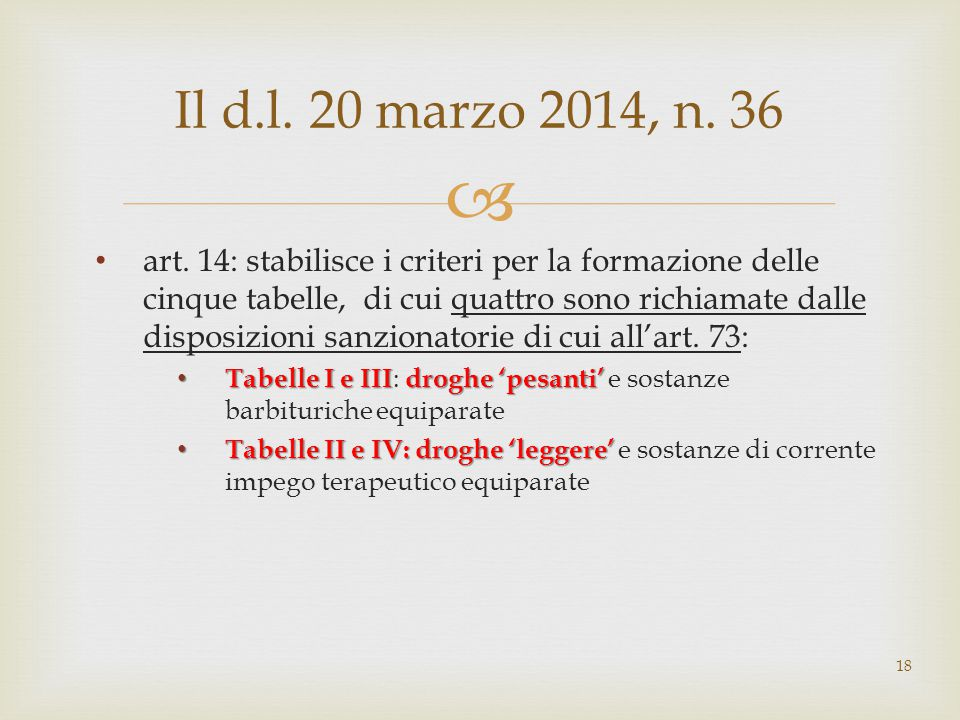 Il d.l. 20 marzo 2014, n. 36