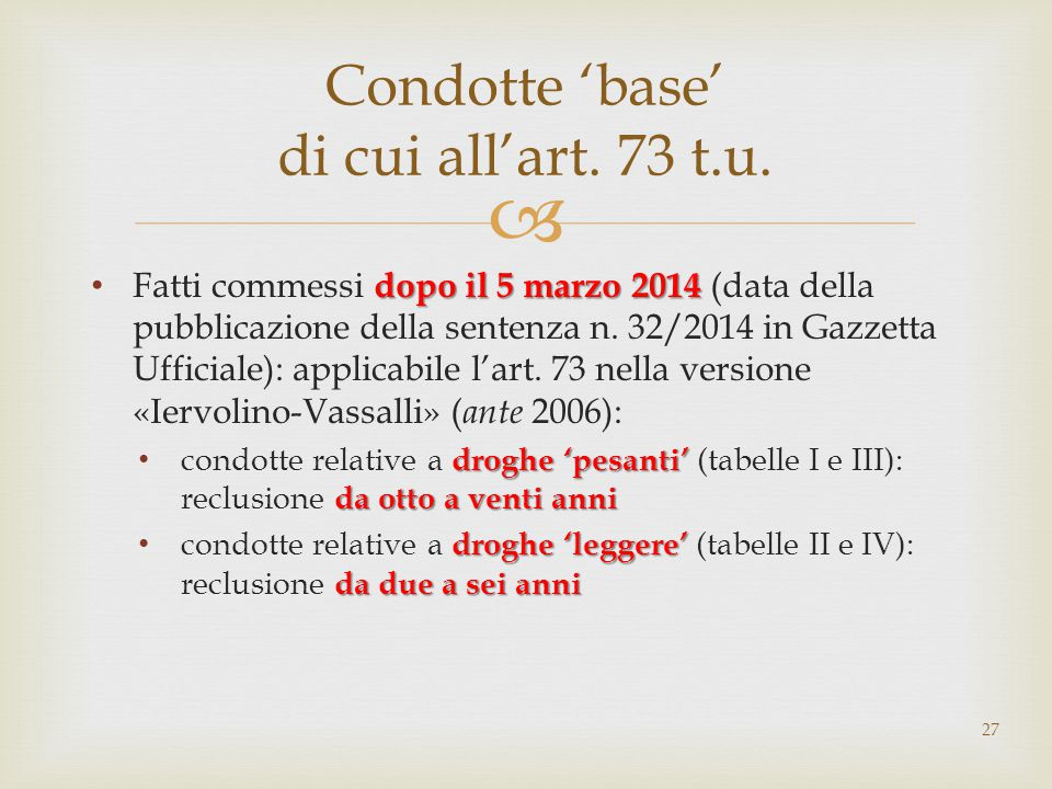 Condotte 'base' di cui all'art. 73 t.u.
