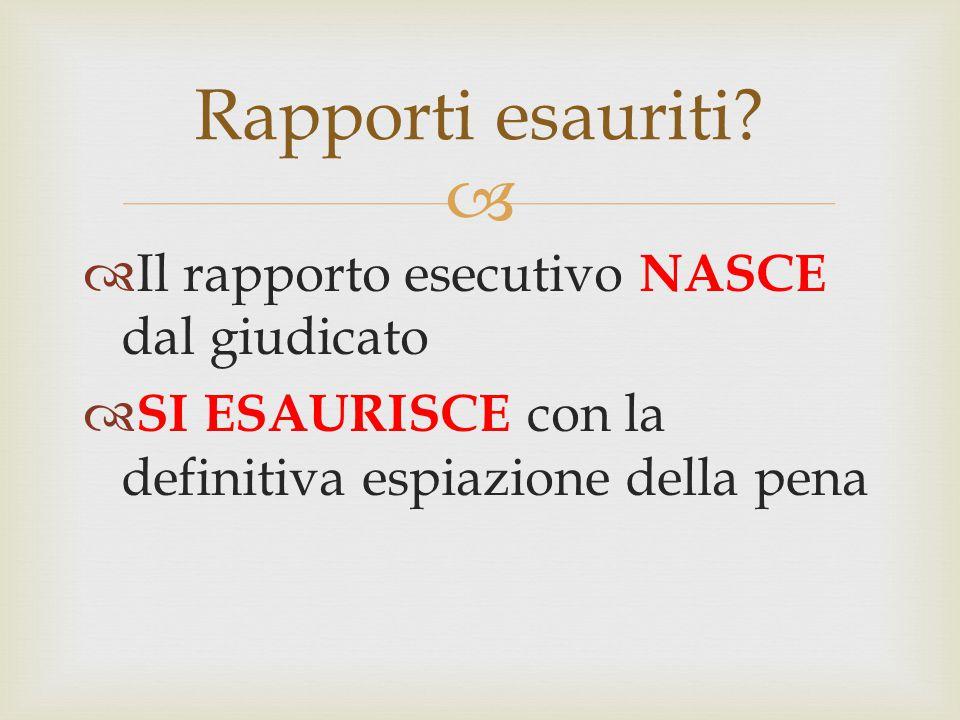 Rapporti esauriti Il rapporto esecutivo NASCE dal giudicato