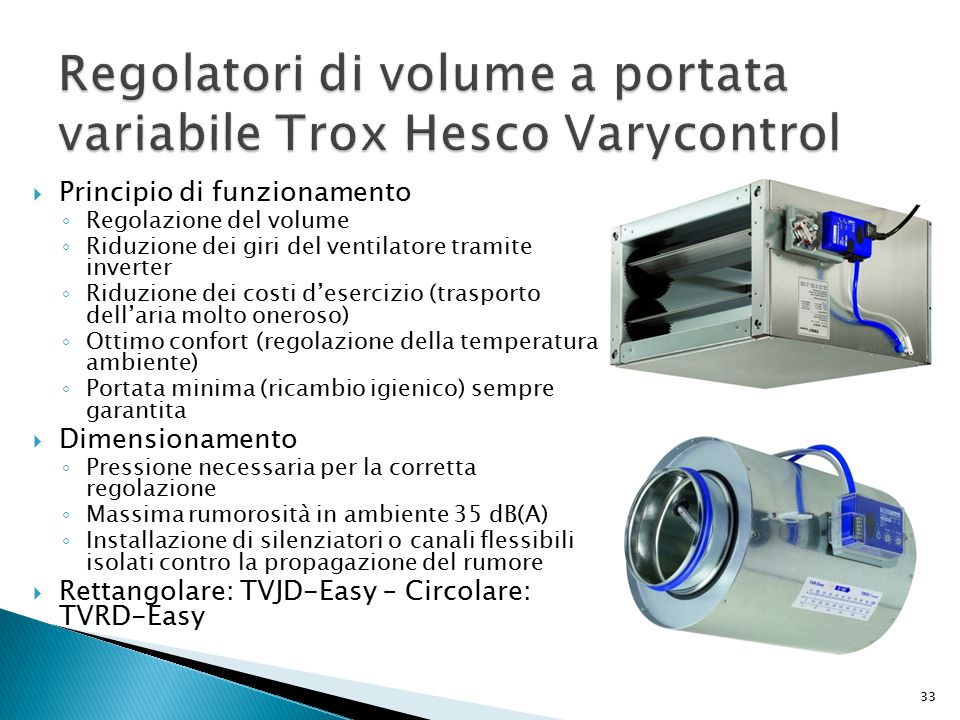 Regolatori di volume a portata variabile Trox Hesco Varycontrol