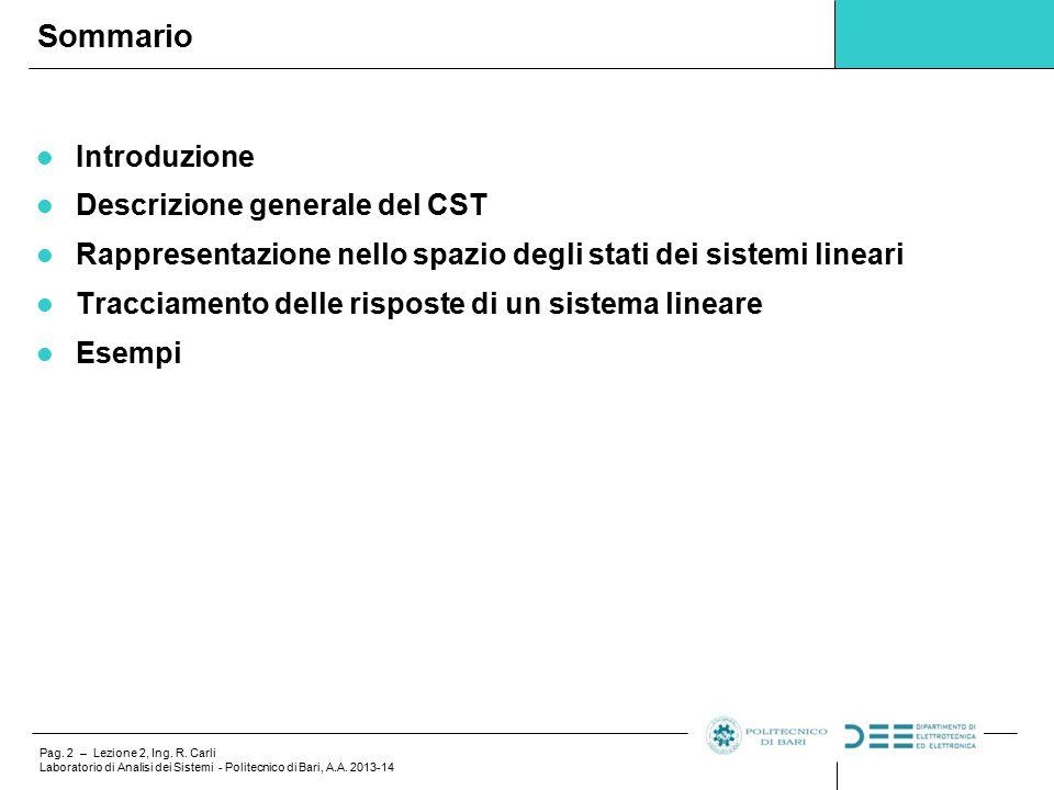 Sommario Introduzione Descrizione generale del CST