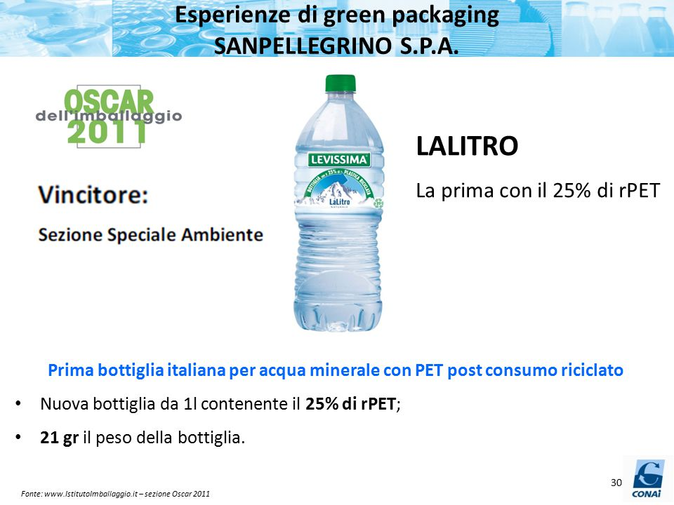 Esperienze di green packaging SANPELLEGRINO S.P.A.