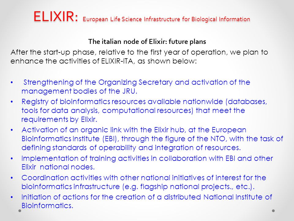 The italian node of Elixir: future plans