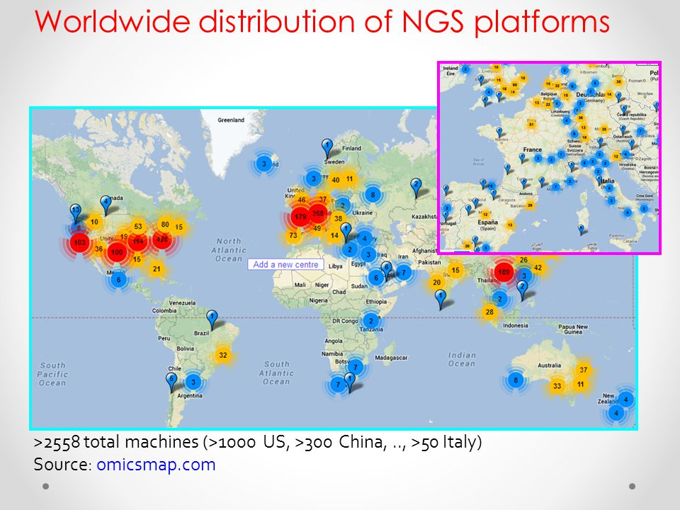 Worldwide distribution of NGS platforms