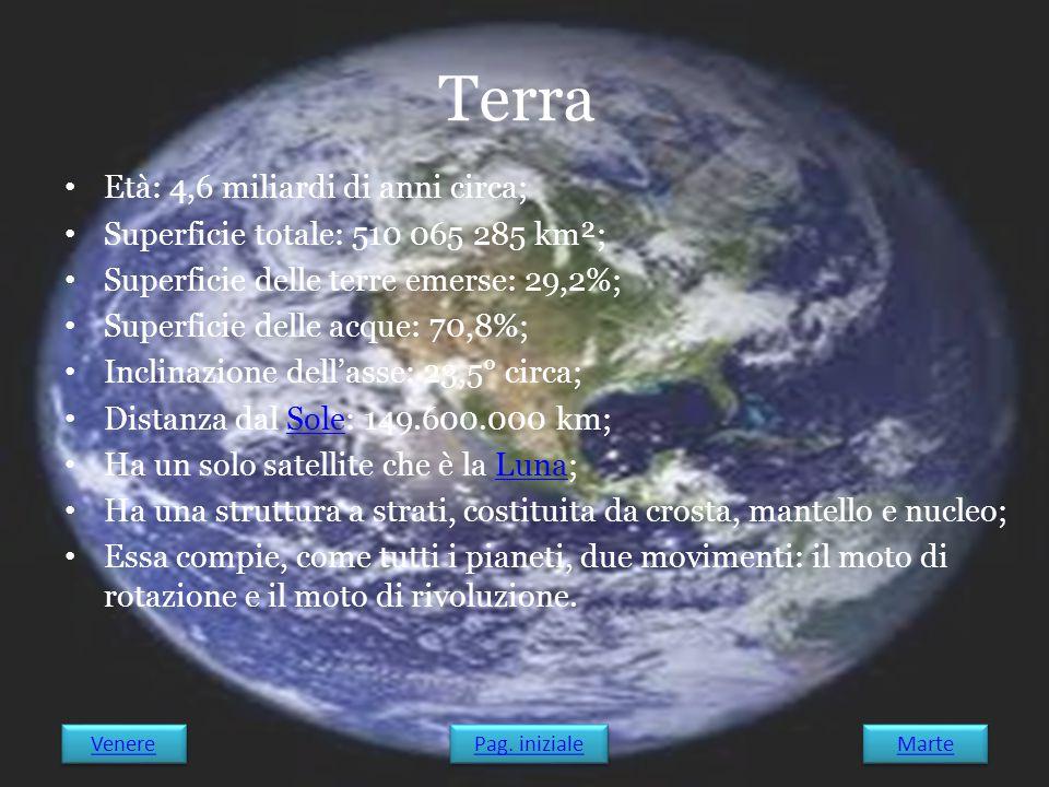 Terra Età: 4,6 miliardi di anni circa;