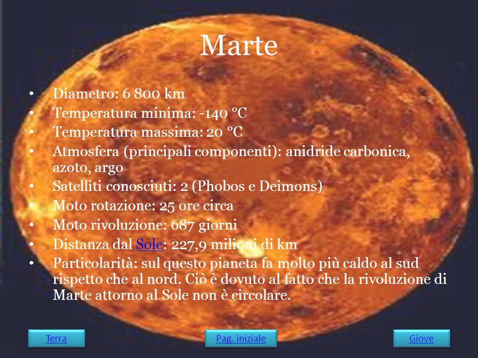 Marte Diametro: 6 800 km Temperatura minima: -140 °C