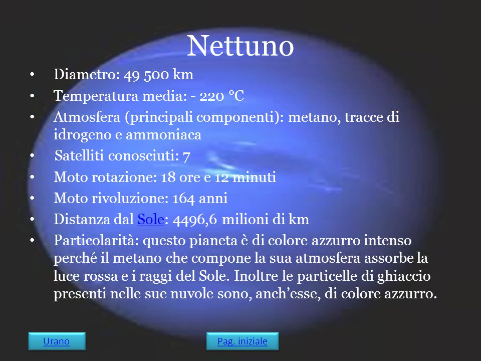 Nettuno Diametro: 49 500 km Temperatura media: - 220 °C