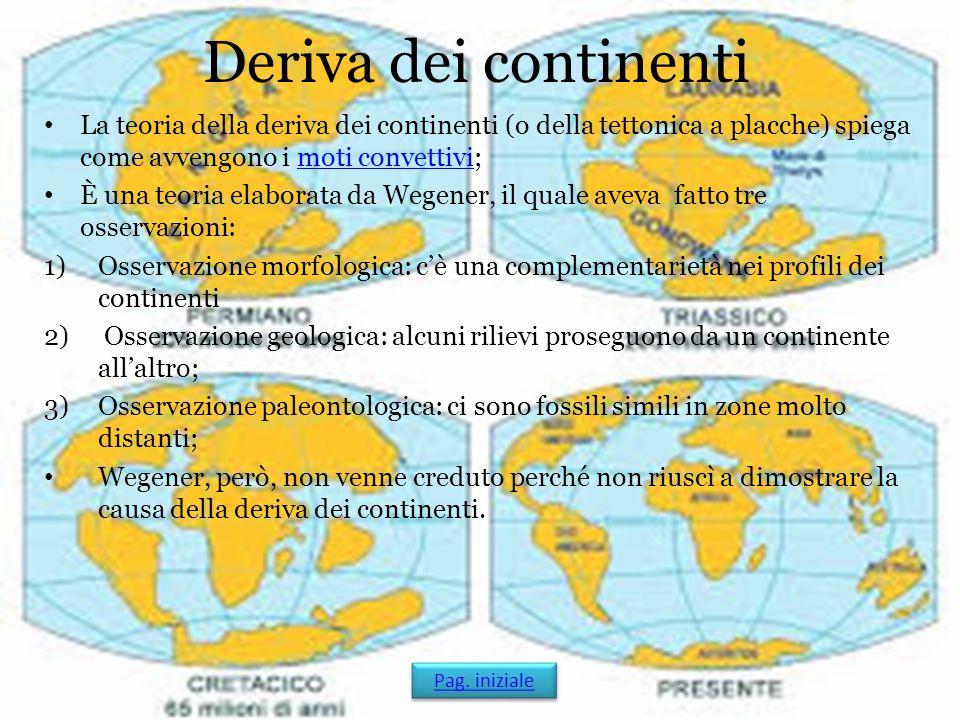 Deriva dei continenti La teoria della deriva dei continenti (o della tettonica a placche) spiega come avvengono i moti convettivi;