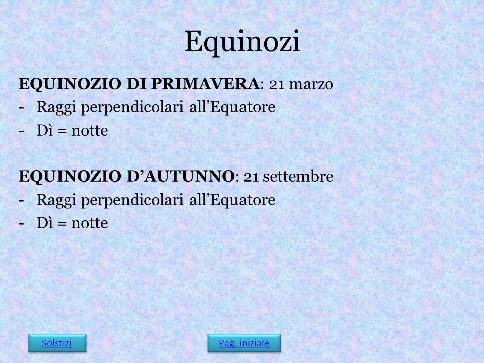 Equinozi EQUINOZIO DI PRIMAVERA: 21 marzo
