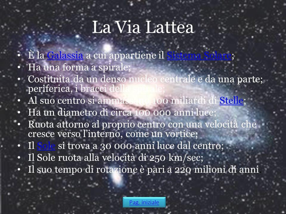 La Via Lattea È la Galassia a cui appartiene il Sistema Solare;