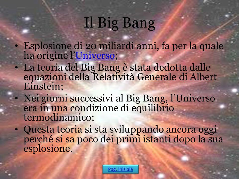 Il Big Bang Esplosione di 20 miliardi anni, fa per la quale ha origine l'Universo;