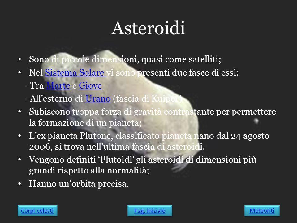 Asteroidi Sono di piccole dimensioni, quasi come satelliti;