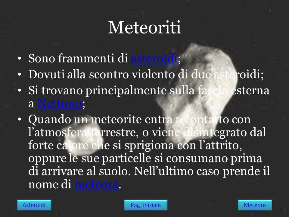 Meteoriti Sono frammenti di asteroidi;