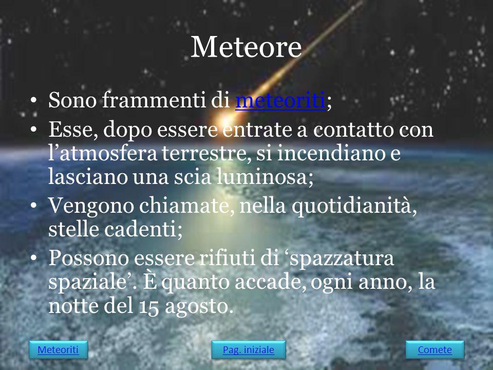 Meteore Sono frammenti di meteoriti;