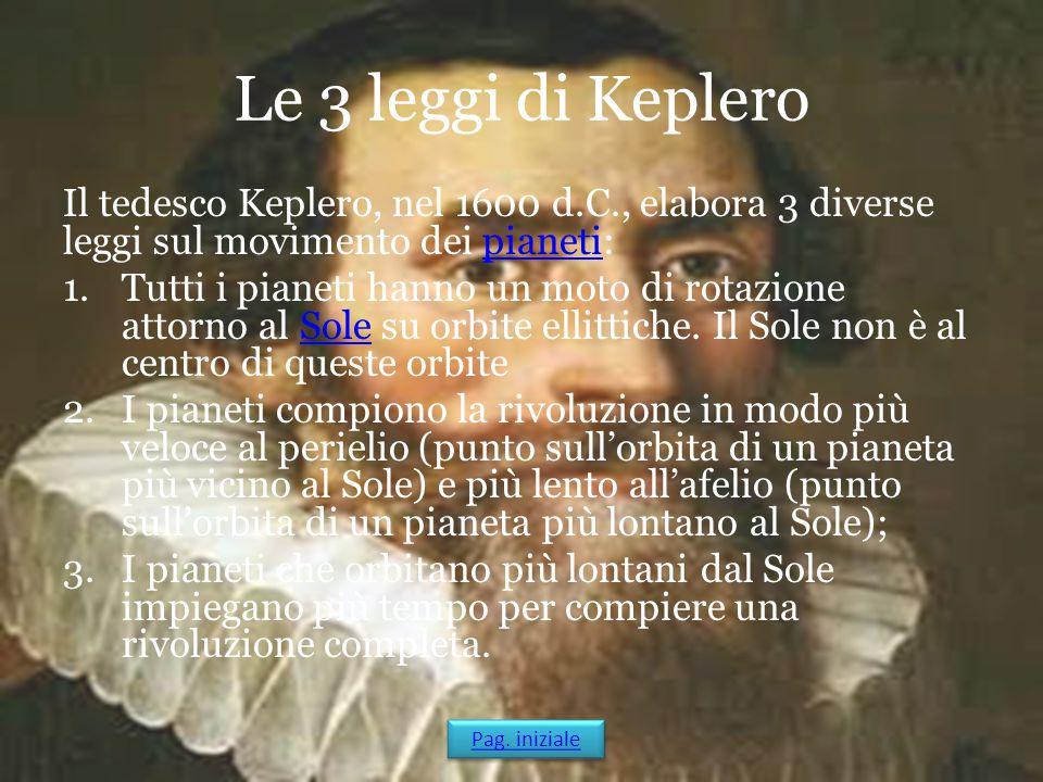 Le 3 leggi di Keplero Il tedesco Keplero, nel 1600 d.C., elabora 3 diverse leggi sul movimento dei pianeti: