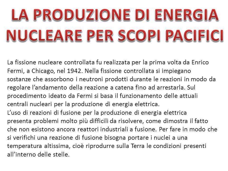 La produzione di energia nucleare per scopi pacifici