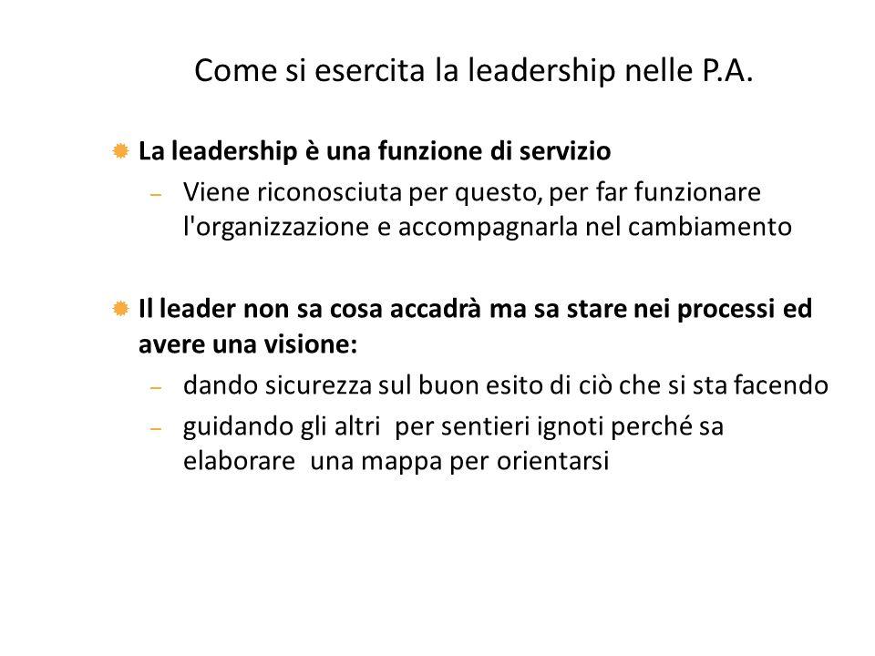 Come si esercita la leadership nelle P.A.