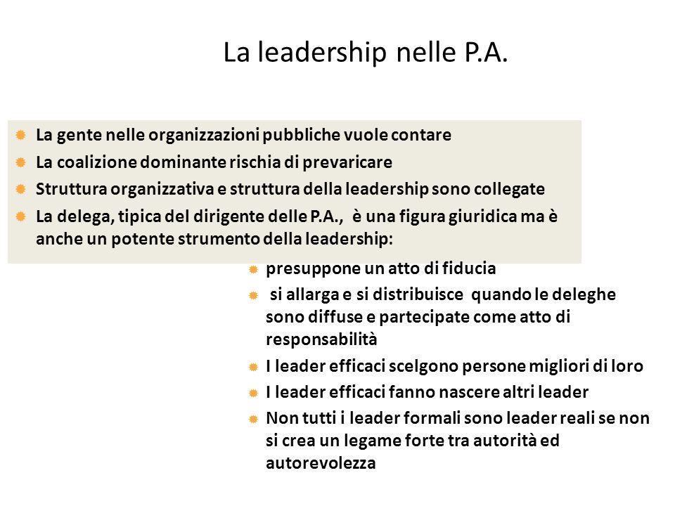 La leadership nelle P.A. La gente nelle organizzazioni pubbliche vuole contare. La coalizione dominante rischia di prevaricare.