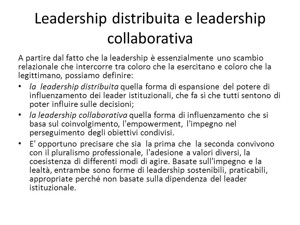 Leadership distribuita e leadership collaborativa