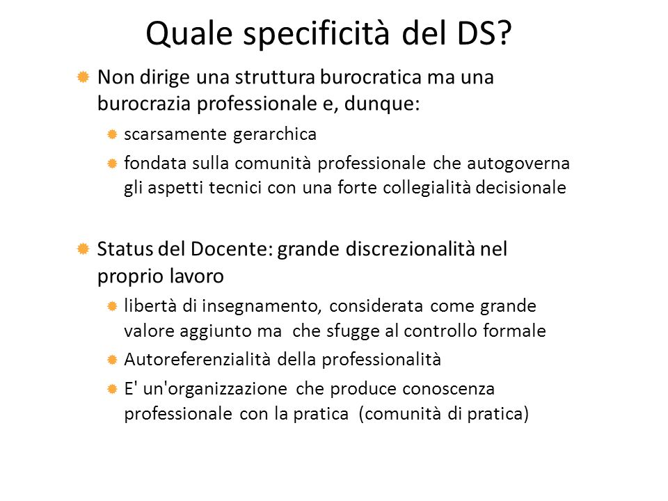 Quale specificità del DS