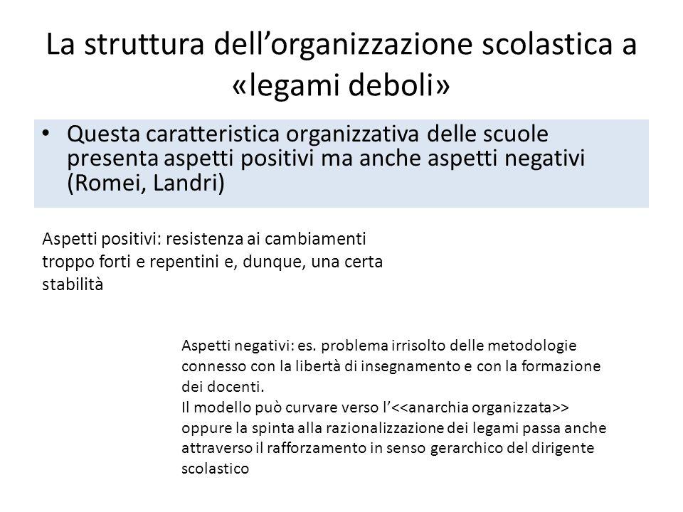 La struttura dell'organizzazione scolastica a «legami deboli»