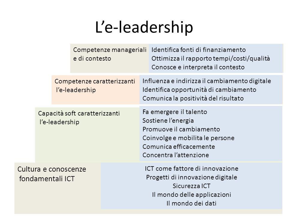 L'e-leadership Cultura e conoscenze fondamentali ICT