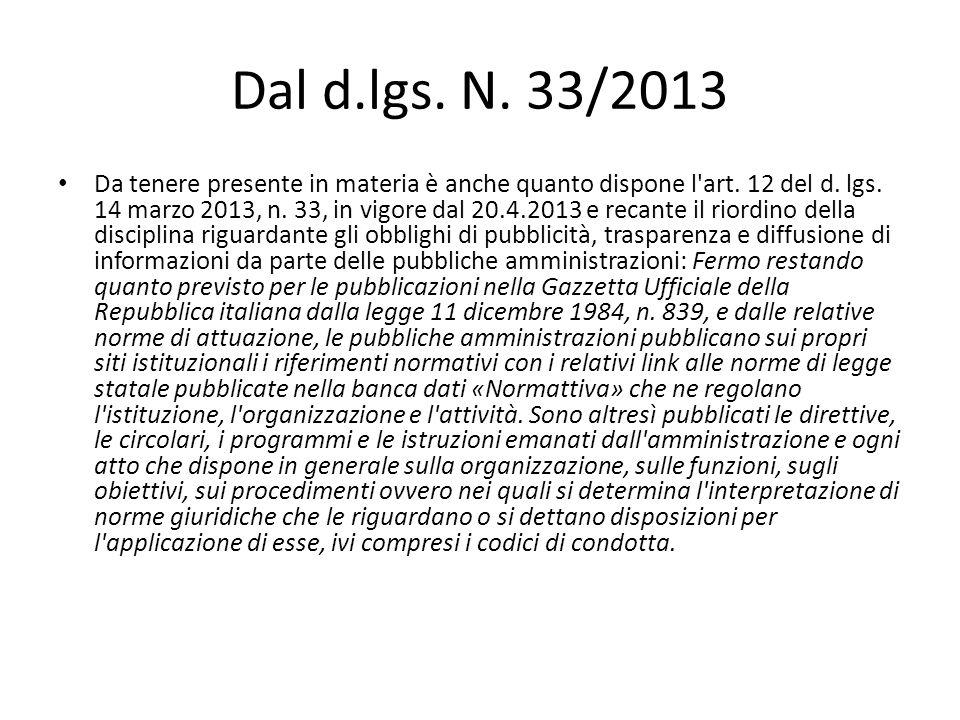 Dal d.lgs. N. 33/2013
