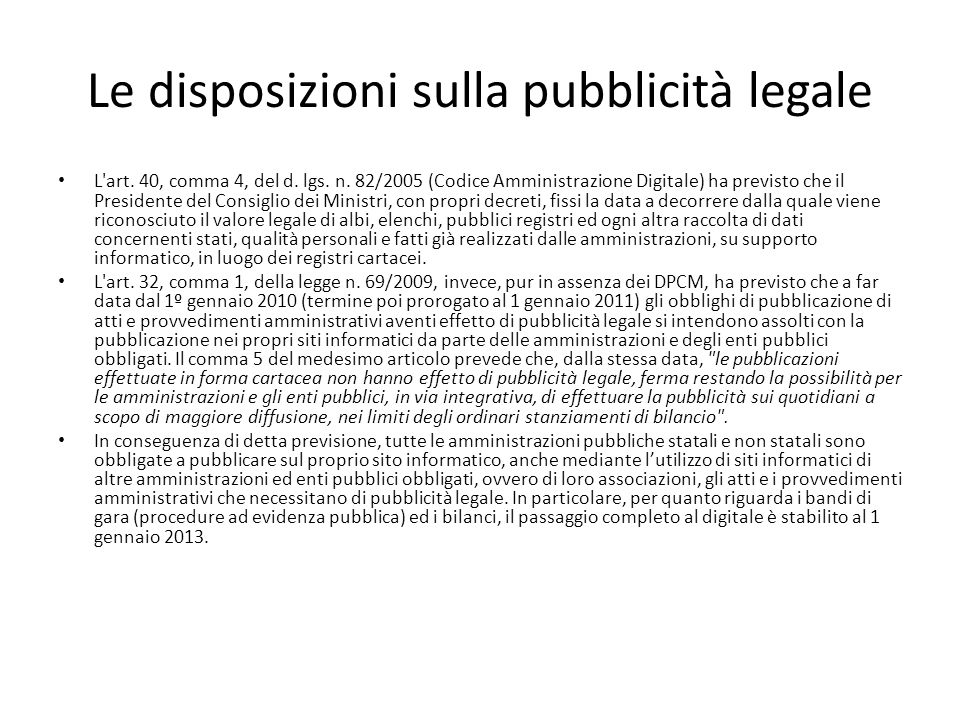 Le disposizioni sulla pubblicità legale