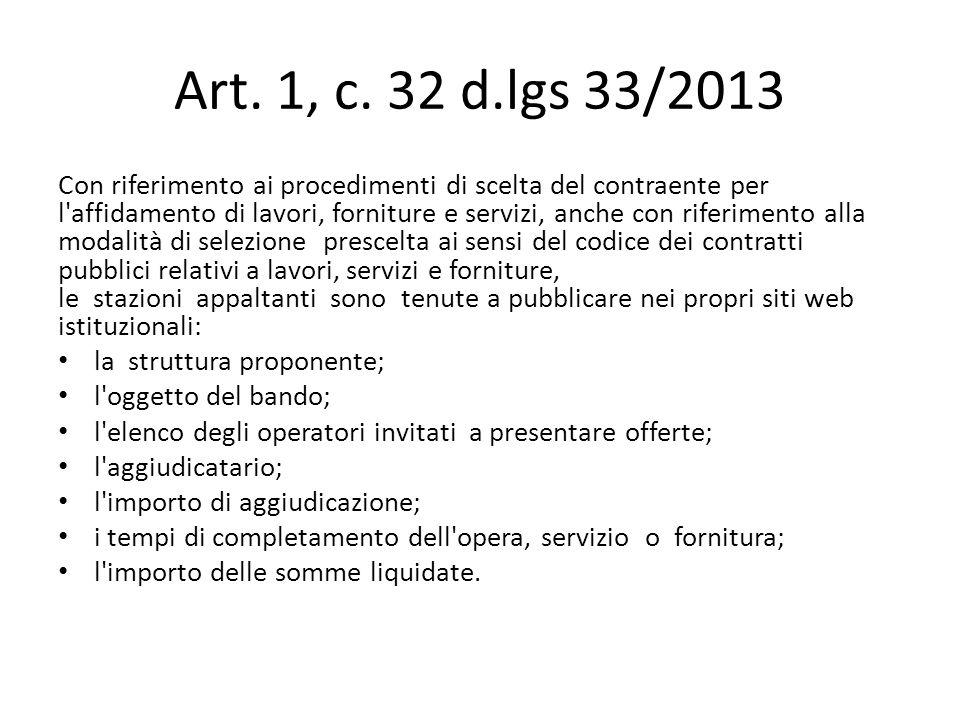 Art. 1, c. 32 d.lgs 33/2013