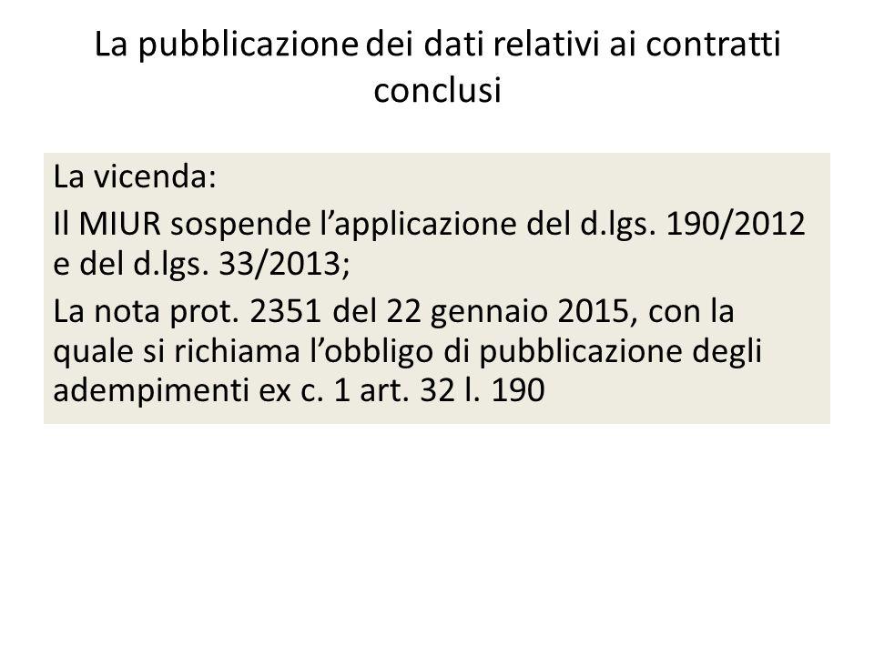 La pubblicazione dei dati relativi ai contratti conclusi