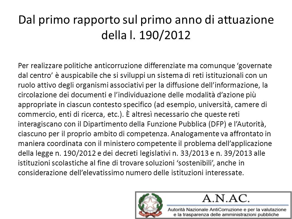 Dal primo rapporto sul primo anno di attuazione della l. 190/2012