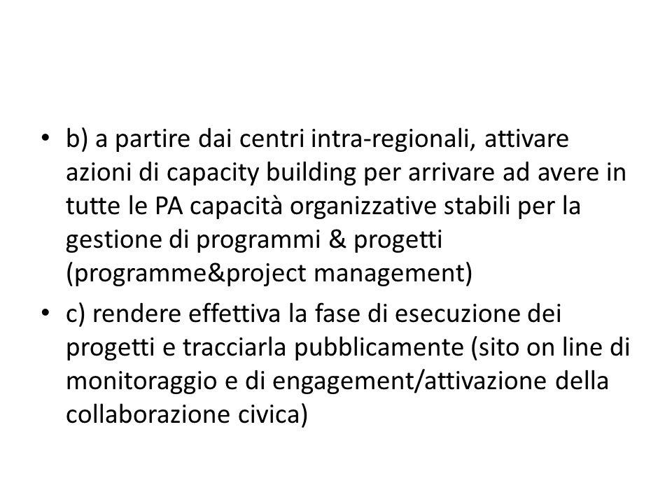 b) a partire dai centri intra-regionali, attivare azioni di capacity building per arrivare ad avere in tutte le PA capacità organizzative stabili per la gestione di programmi & progetti (programme&project management)