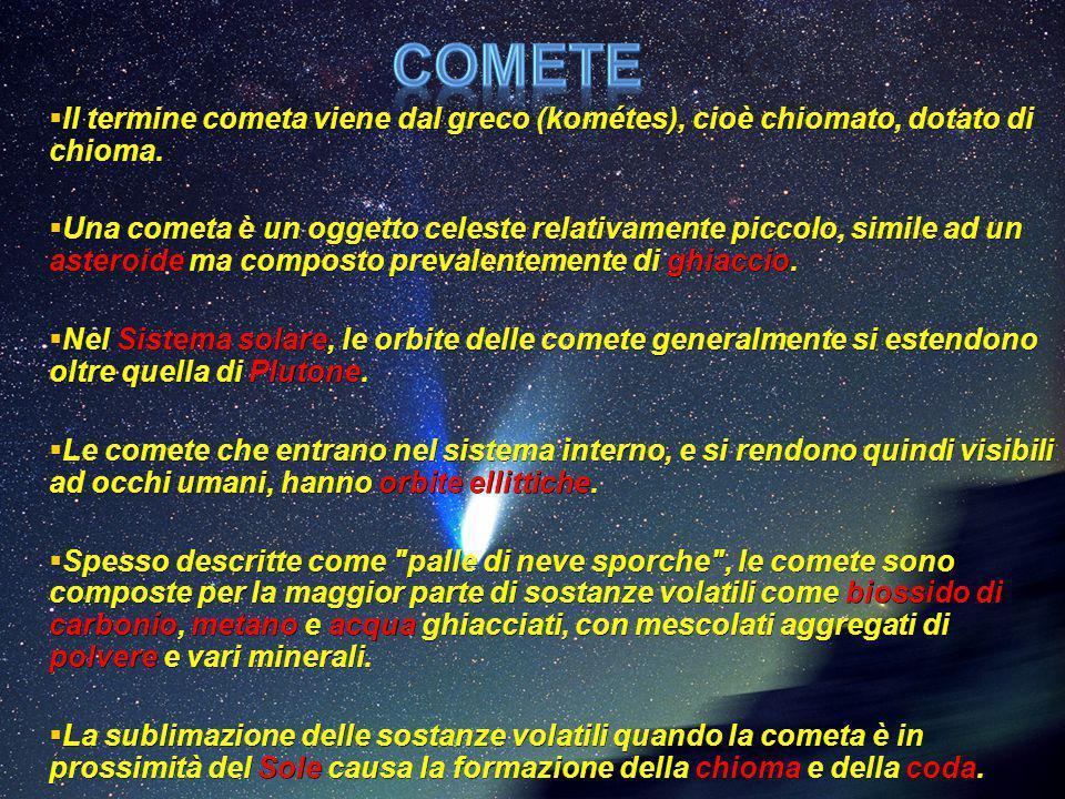 Comete Il termine cometa viene dal greco (kométes), cioè chiomato, dotato di chioma.