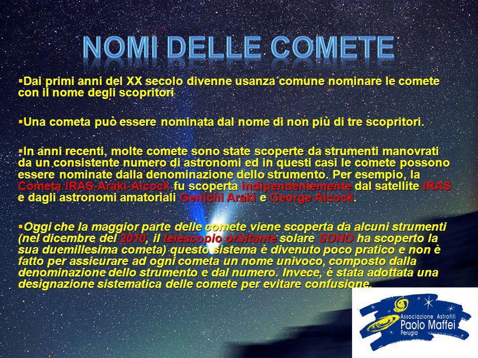 Nomi delle comete Dai primi anni del XX secolo divenne usanza comune nominare le comete con il nome degli scopritori.