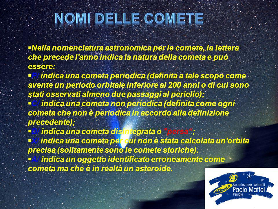Nomi delle comete Nella nomenclatura astronomica per le comete, la lettera che precede l anno indica la natura della cometa e può essere: