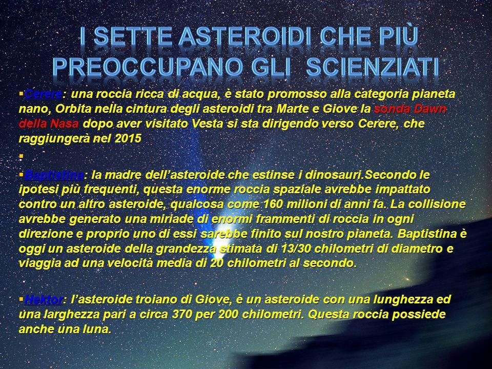 I sette asteroidi che più preoccupano gli scienziati