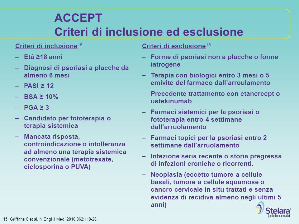 ACCEPT Criteri di inclusione ed esclusione