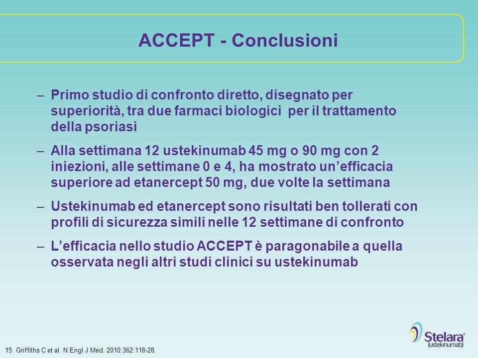 ACCEPT - Conclusioni Primo studio di confronto diretto, disegnato per superiorità, tra due farmaci biologici per il trattamento della psoriasi.