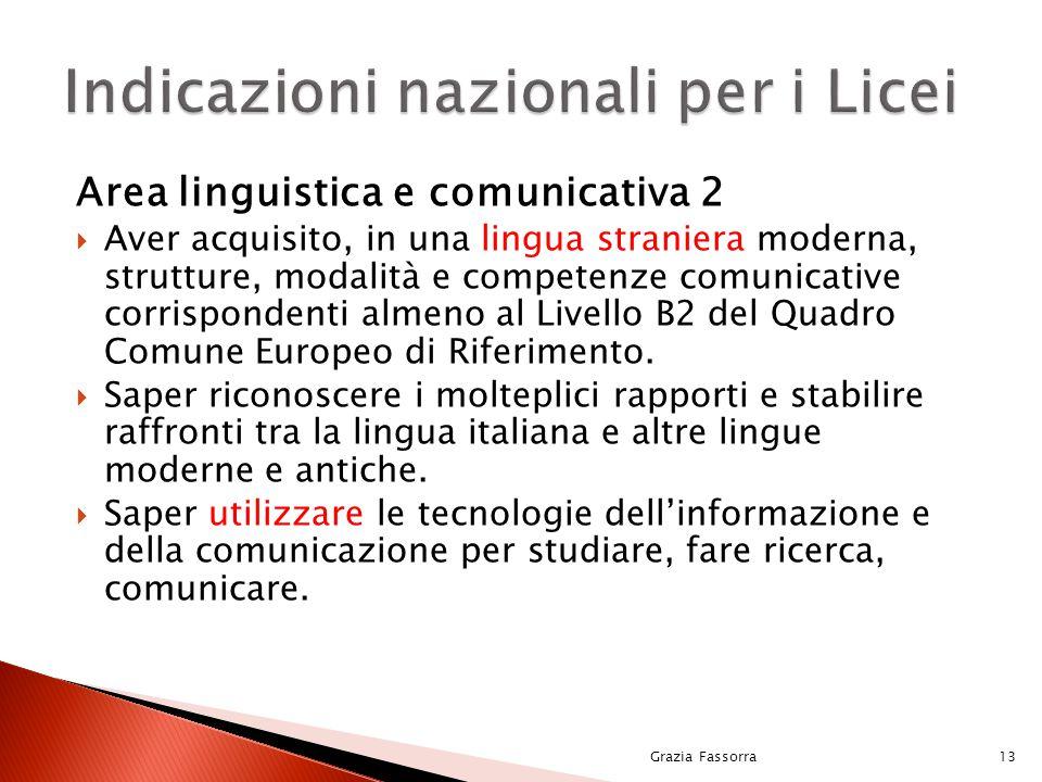 Indicazioni nazionali per i Licei